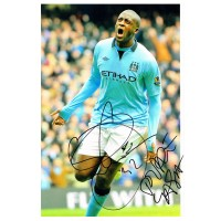 Yaya Toure Manchester City Hand Signed Photo Authentic Genuine + Coa - 12X8